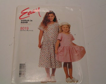 McCalls stitch n save Pattern 8019 Girls Dress in two lengths