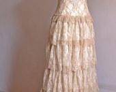 Boho Wedding Dress, Cream Wedding Dress, Lace Wedding Dress, Open Back Gown, Bohemian Gown, Gypsy Wedding Dress, Handmade, SuzannaMDesigns