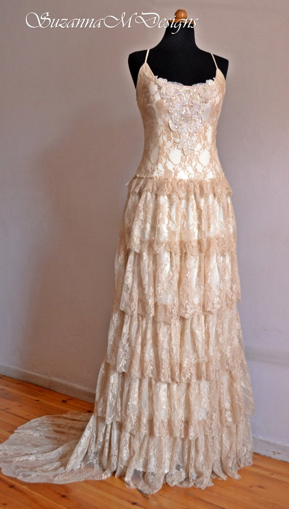 Cream Lace Bohemian Wedding Dress /Long Bridal by ...
