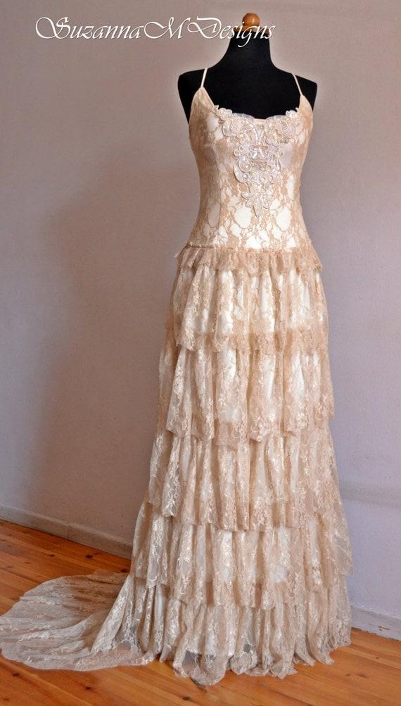 Boho Wedding Dress Cream Lace