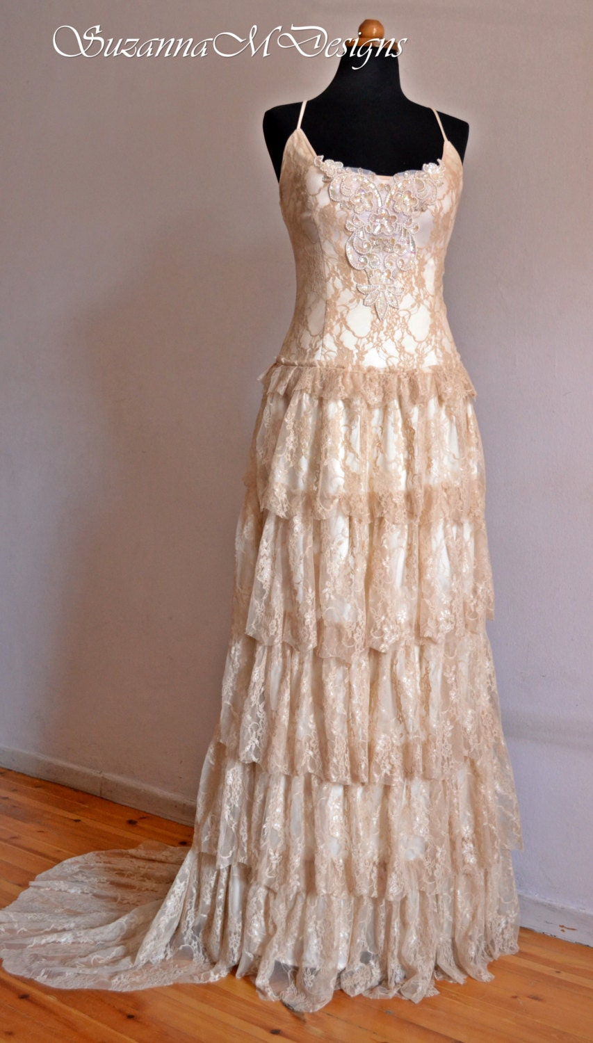 Boho Lace Wedding Dress Etsy : Boho wedding dress cream lace