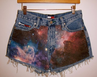 High Waisted Fabric Galaxy Shorts