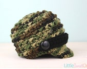 Camo Newsboy Hat - Knit Baby Hat, Photography Prop