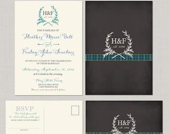 Scottish Tartan Chalkboard  Wedding Invitation RSVP Set Scottish Wedding UK wedding British wedding Scotland Design fee
