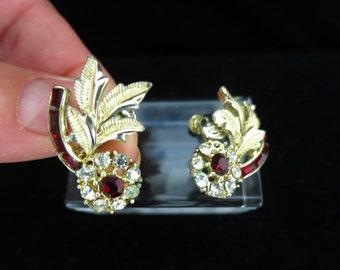 Vintage Red & Clear Rhinestone Floral Earrings