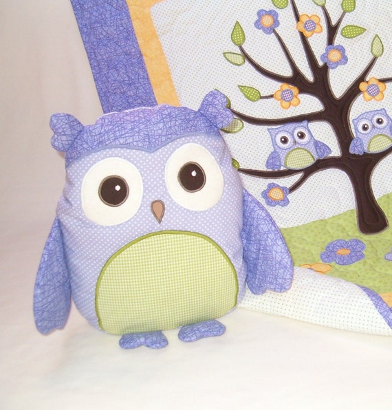Owl Pillow, Monogrammed Owl Toy, Stuffed Animal  Softie  Purple Green