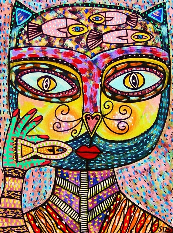 Talavera Cat Goddess Eating A Fish* - SILBERZWEIG ORIGINAL Art PRINT- Modern, Mexican, Folk, Dreaming, Cracker, Dinner, Pet, Kitten, Goddess