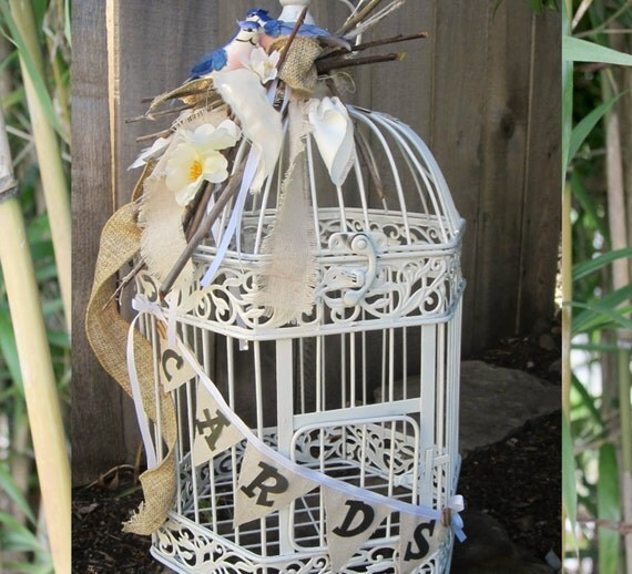 Rustic Branches and Burlap with Birds Card Holder BirdCage 1244