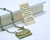 Friendship Necklace, Envelope Necklace, Winnie the Pooh Quote Necklace, Bird Necklace, Secret Message Necklace, Locket Necklace