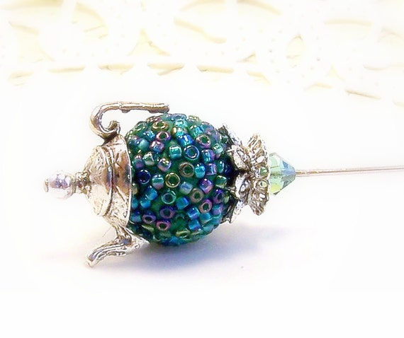 Teapot beaded hat pin teal green blue mosaic bumpy beaded miniature teapot Victorian hat pin scarf pin seed beads TAGT tenX