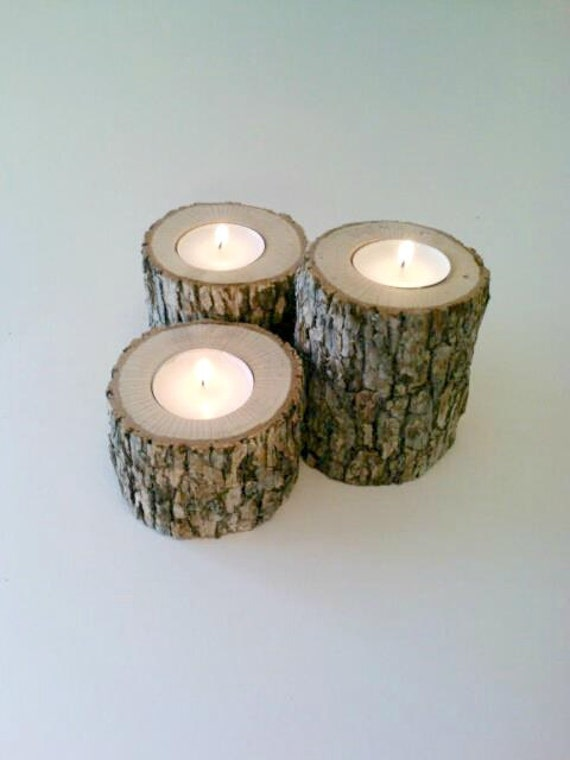 Items similar to log candle holders oak candle holders for Log candles diy