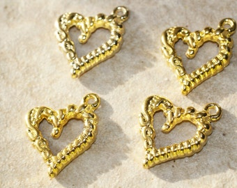 6pc Gold Heart Charms /Bracelet Charms/ Necklace Charms / Pendants