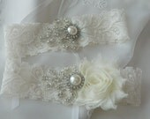 BEST SELLER Wedding Garter Set, Bridal Garter, Ivory Lace Garter,Garter Set, Shabby Chiffon Garter Set