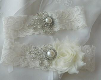BEST SELLER Wedding Garter Set, Bridal Garter, Ivory Lace Garter,Garter Set, Shabby Chiffon Garter Set