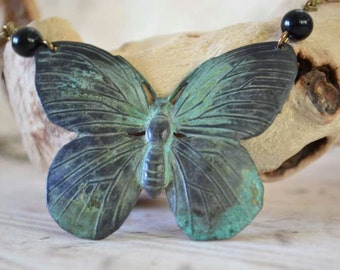 Verdigris Butterfly Necklace, Hand Finished Butterfly and Glass Bead Necklace
