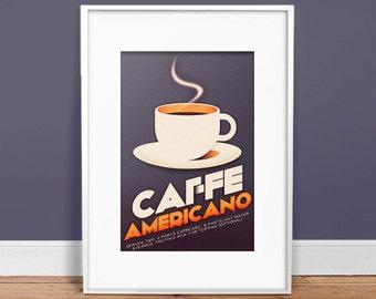 Caffe Americano - Vintage Poster - Retro Art Print - Dark Coffee -