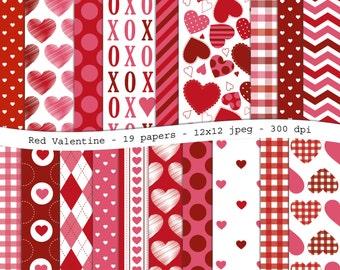 Red Velentine digital scrapbooking paper pack - 19 printable jpeg papers, 12x12, 300 dpi - instant download