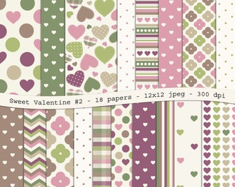 Sweet Valentine No.2 digital scrapbooking paper pack - 18 printable jpeg papers, 12x12, 300 dpi - instant download