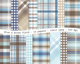 Blue and brown plaid digital scrapbooking paper pack - 14 printable jpeg papers, 12x12, 300 dpi - instant download