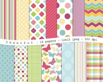 Cheerful - digital scrapbooking paper pack -14 printable jpeg papers, 12x12, 300 dpi - instant download