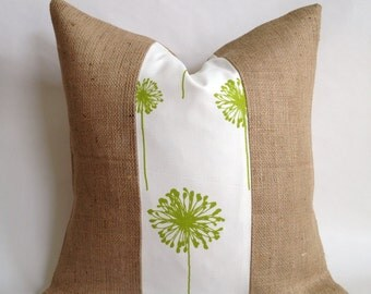 Green Dandelion Fabric & Burlap Pillow Cover