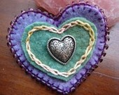 Mother's Day Heart Brooch,Embroidered Heart, Birthday Brooch, Waldorf Brooch