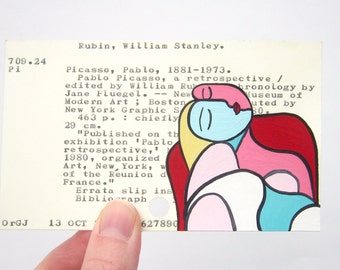 Cubist Woman Library Card Art - Print of Cubist style woman on library card for the book Pablo Picasso: A Retrospective