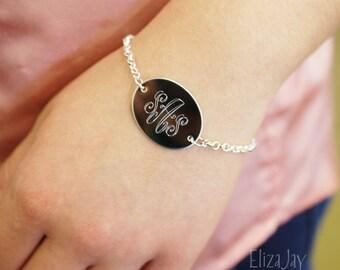 elegant monogram oval engraved bracelet