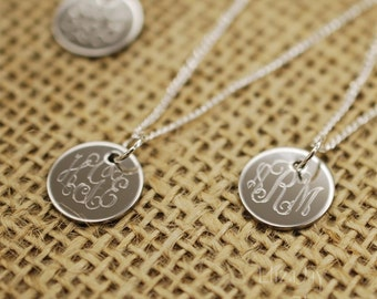 "very small 1/2"" vine monogram engraved stainless steel charm necklace"