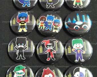 """Chibi Batman Friends and Villains. Flatback / Pinback / Hollowback (1inch 25mm / 1.25"""" 31mm) Set of 12 Buttons Party Favors / DIY Projects"""
