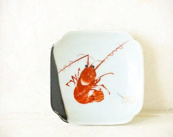 Vintage YY Made in Japan Prawn Shrimp Serving Plate, Sushi Plate Yonemoto Store