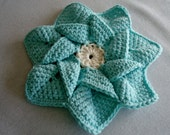 Handmade Crochet Pinwheel/Flower Trivet/Hot Pad in Aqua