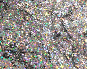 SALE Solvent Resistant Holographic Silver Glitter Medium Hexagon Cut 1 oz 0.062 Hex for Nail Art Scrapbooking and Crafts