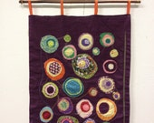 Fabric Art, Wall Hanging, purple circles, quirky and fun