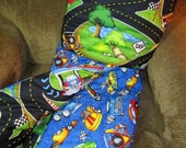 Hot Rods Race Track - Quillow/Quillo Baby/Toddler/Child - Quilt In A Pillow -Travel Quilt