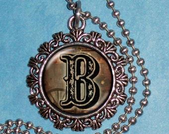 "Letter ""B"" Art Pendant,  Alphabet Resin Pendant, Vintage Silver, Black & Brown Photo Pendant"