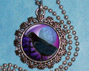 Raven Crow in a Violet Night Art Pendant, Black Bird and Full Moon Resin Art Pendant, Photo Pendant