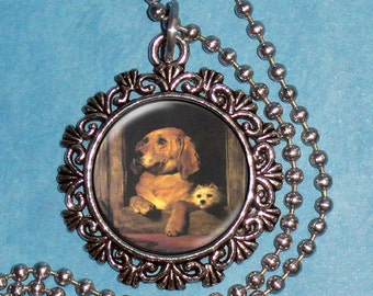 Dignity and Impudence 1839 Art Pendant, Vintage Neoclassicism Dogs Resin Pendant, Sir Edwin Henry Landseer Art, Photo Pendant