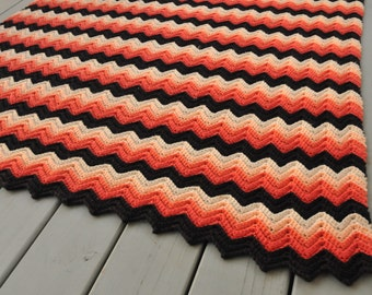 Mid Century Zig Zag Crocheted Afghan Peach Coral Black White