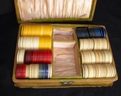 Vintage Clay Poker Chips - Antique Poker Chips Box - Wood Box - Poker Chips - Game Chips - Clay Chips