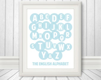 Alphabet, Kids Wall Art, Alphabet Print, Letters, Nursery Wall Decor, Art For Kids, Baby Nursery Art - Custom Color - 11 x 14