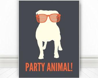 Party Animal, Dog Print, Dog Art, Dog Poster, Pet Print, Pet  Pet Poster