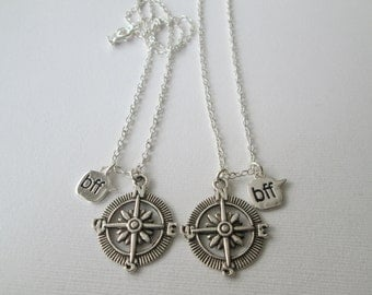 2 Open Compass, BFF Necklaces