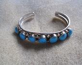 Native AmericanTurquoise Nugget Sterling Silver Bracelet
