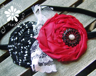 Red & Black Girls headband - Boutique Style Elastic Headband -black and red rosettes - Girls Glam Headband