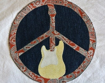 Peace Sign Guitar Patch Jacket Back Upcycled Denim10'' Custom Sizes and Designs Available