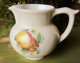 Vintage Pantry Parade Pitcher Made by Stanford Pottery Co Ohio USA Pottery Fruit Motif