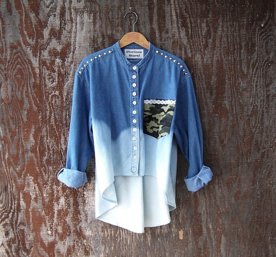 STUDDED DENIM SHIRT contrast camo pocket high low hem long sleeve dip dye blue ombre half bleached upcycled camouflage womens oversized