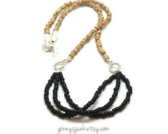 CLEARANCE - Seed Bead Necklace - Black and Gold Dust with Silver Accents