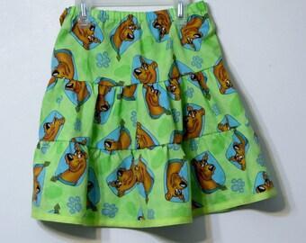 Girls Layered Skirt - Toddler Twirly Skirt -Scooby Doo Handmade Tiered Skirt - Modest Skirt -Kids fashion - Girl's clothing - Boutique Skirt